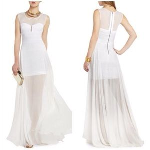 BCBG White Chiffon Sequin Gown XS